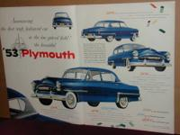 For sale a 1953 Plymouth car ad, this ad comes in two