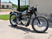 1953 Triumph T100C. This is an unique construct, and is