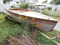 1953 Thompson Center Steer Wooden Boat 16' Needs