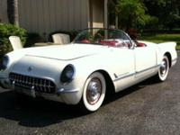 1954 Chevrolet Corvette ..White Paint Very Good ..Red