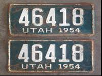 This a PAIR of 1954 Utah truck license plates. Finding