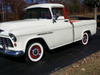 55 Chevy Cameo. 6 cylinder with 3 speed manual