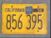 This is a 1956 California license plate with a 1960