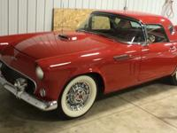 1956 Red Ford thunderbird hardtop coupe with 312 V8,