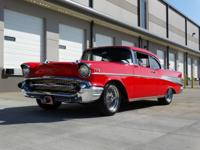 Powering this 1957 Chevy for sale is a Ram-Jet 350