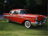 1957 Chevy Belair. Two door hardtop. Cherry Red with