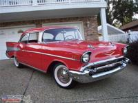 1957 '57 Chevrolet Bel Air Sport Coupe.**Red with Red