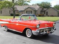 1957 Chevrolet Bel Air Convertible Matador Red with Red