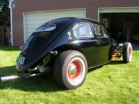 This is a 1957 Volkswagen Rat Rod. It is a hiboy hot