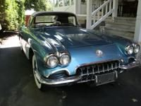 1958 Chevrolet Corvette Silver and Blue with Black in.