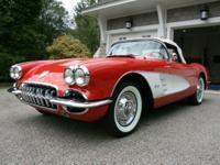 1959 C1 Corvette. Roman Red w/ white coves. Three owner
