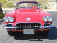 1960 Chevrolet Convertible Red Corvette Roadster.