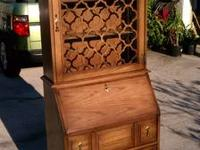 1960's ANTIQUE Secretary Desk with Bookcase top in