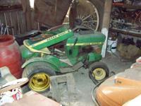 Two 1960's John Deere 110 round fender Garden tractor