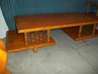 Beautiful 1960's SOLID MAPLE 3-PIECE COFFEE TABLE SET!