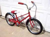 "1960's SCHWINN ""PIXIE "" BIKE,, RED IN COLOR, GOOD"