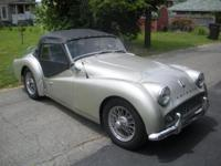 1960 Triumph TR3A, Metallic Pearl Silver with black