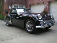 1961 Triple Black Triumph TR3A, only 8842 miles Radial