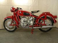 1963 Granada Red BMW R60/2 Motorcycle. It has been