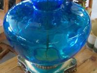 Blue glass, brass base, tall, 16x16x48  AMAZING FINDS