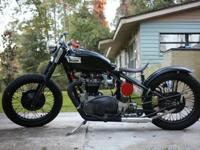 UP FOR SALE IS MY TRIUMPH BOBBER. IT RUNS GREAT FIRST