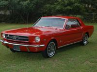 mustang coupe red on red [rare bench seat] air cond.