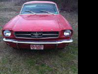 1965 mustang coupe, auto trans, orange interior and