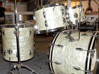 A mint 1965 Ludwig White Pearl 5-piece drum kit. VERY