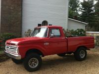 1966 Ford F-100 Factory 4x4 short bed pickup truck.