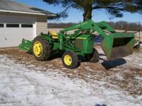 FOR SALE: 1966 JOHN DEERE 2020 TRACTOR. 3748 HOURS. 4