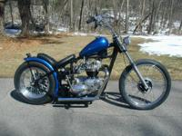 1966 Triumph 650 Tiger TR6 hardtail bobber. Numbers