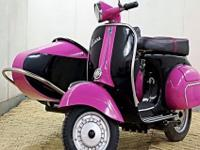 1966 Black and Pink Vespa 150 Scooter with Sidecar _