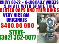 Description 1968-72 Chevy 6 Lug Rally Wheels 5 in All