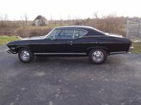 UP FOR SALE IS MY 1968 BLACK ON BLACK CHEVELLE SS. THIS