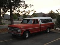 1968 Ford 100 pickup, red with white cab, 360 engine, 3