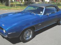 1969 Chevrolet Camaro convertible. Nice dark blue