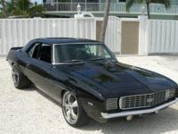 A classic muscle car with enhanced suspension