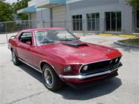 1969 MUSTANG COUPE,RED PAINT ON A STRAIGHT BODY,BLACK