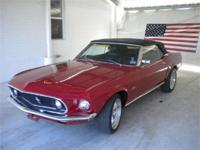 1969 Ford Mustang Convertible 302 V8 Red/Black Leather