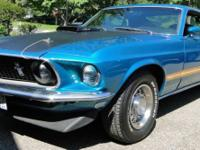 This 1969 Mach I Mustang is painted in Gulfstream Aqua