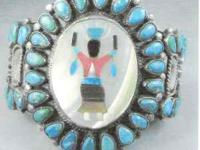 THIS IS A ZUNI TURQUOISE MOSAIC INLAY BRACELET WITH 40