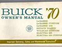 1970 Buick Owners Manual in Very Good Condition! Must