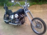 Shovelhead chopper in a hardtail frame. Frame by