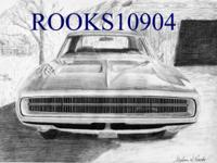 "You are viewing one 8"" X 10"" Black & White Muscle Car"
