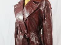 Exquisite 1970's Designer Leather Trench in Oxblood by