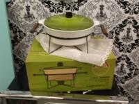 For sale is a 3 QT ceramic casserole Avocado Cover