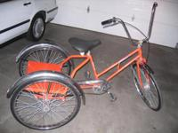 Worksman industrial tricycle. Solid rubber tires - no