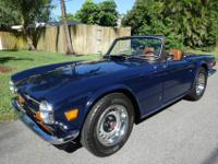 1970 Triumph TR6 in Royal Blue with Honey Tan Leather