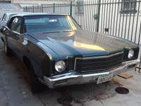 1971 CHEVY MONTE CARLO GREEN COLOR TAGS ARE NON-OP BUT