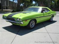 This 1972 Dodge CHALLENGER 2dr . features a V8 8cyl